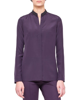 Long-Sleeve Blouse with Contrast Collar