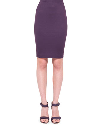 Back-Zip Jersey Pencil Skirt, Purple