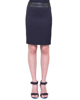Jacquard Pencil Skirt with Faux-Leather Waistband