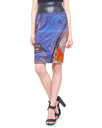Graffiti Jersey Pencil Skirt with Faux-Leather Trim