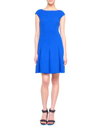 Cap-Sleeve Pleated Scoop-Back Wool Dress
