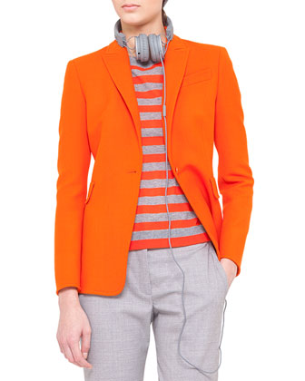 One-Button Jacket, Striped Sweater & Faubourg Straight-Leg Pants
