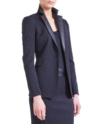 One-Button Jacket with Faux-Leather Lapels