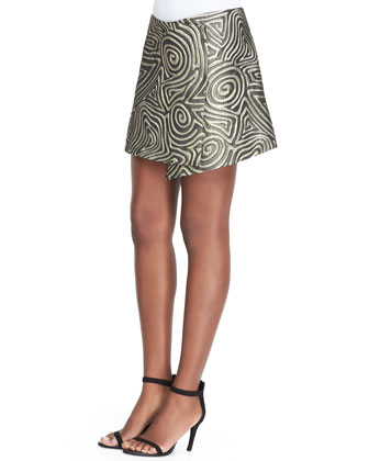 Golden Swirl Asymmetric Wrap Skirt