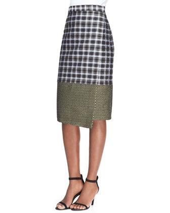Long-Sleeve Golden Swirl Top & Midi Asymmetric Combo Wrap Skirt