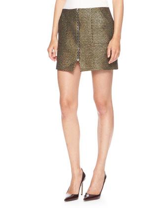 Zip-Front Metallic-Weave Miniskirt