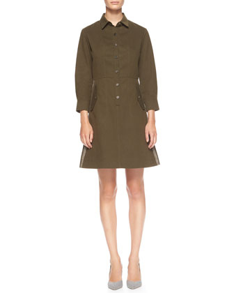 Side-Stripe Cotton Utility Shirtdress
