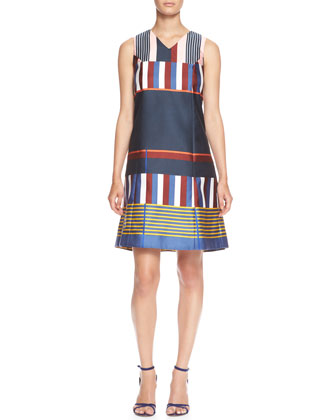 Sleeveless Placed-Stripe V-Neck Shift Dress
