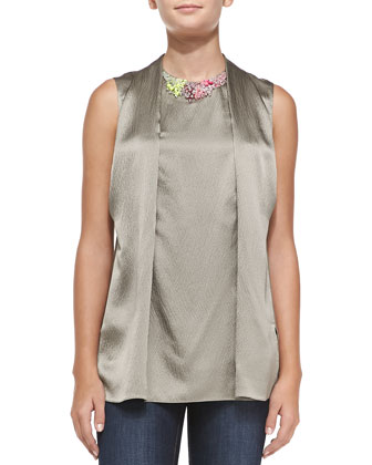 Draped-Front Top w/ Embellished Neck