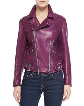 Sculpted Lambskin Moto Jacket