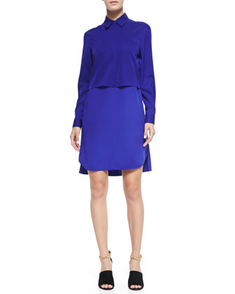 Silk Double-Layer Collar Dress