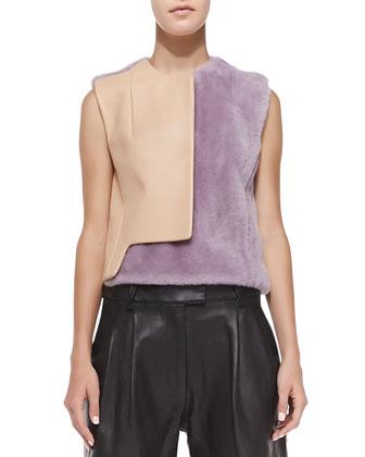 Transit Curve Leather & Fur Vest