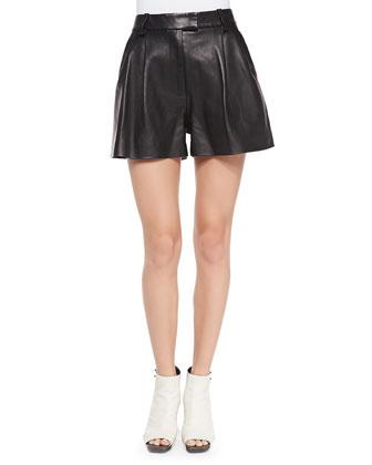 Pleated Lambskin Shorts