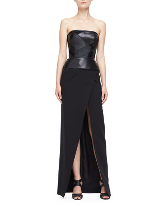 Gown with Strapless Leather Bodice