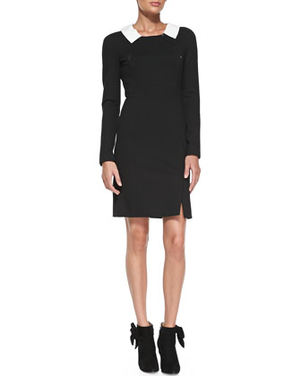 Long-Sleeve Signature Dress with Zip Detail
