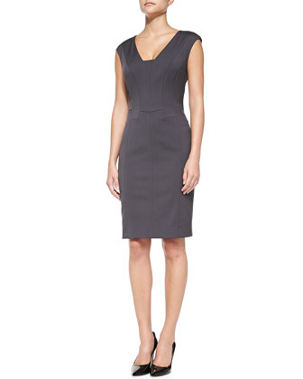 Panel-Front Abstract-Print Cardigan & Cap-Sleeve Seamed Detail Sheath Dress