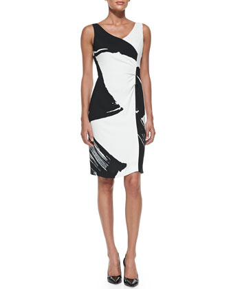 Sleeveless Abstract-Print Sheath Dress