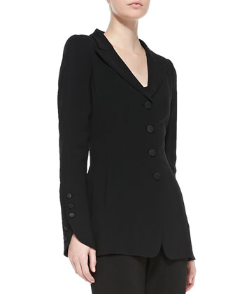 Long Button-Detail Tuxedo Jacket