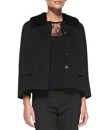 Seamed Jacket with Detachable Mink Fur Collar, Black