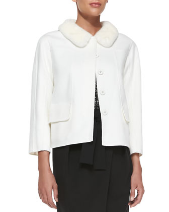 Seamed Jacket with Detachable Mink Fur Collar, Ivory