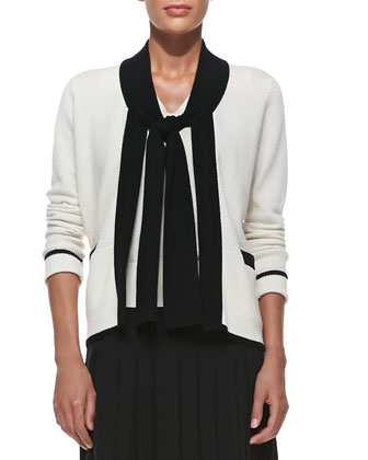 Cashmere Tie-Neck Cardigan, V-Neck Tank & Pleated Georgette Skirt