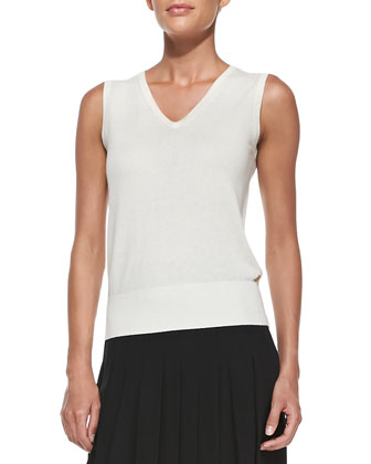 V-Neck Cashmere Knit Tank