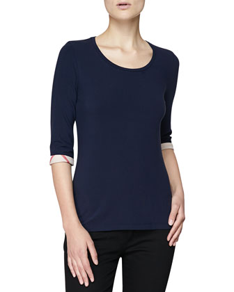 3/4-Sleeve Check-Cuff Jersey Tee, Navy