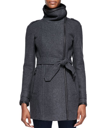 Leather-Trim Funnel-Collar Coat