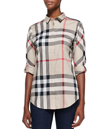 Poplin Button-Down Check Shirt