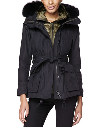 Fox-Fur-Trim 3-in-1 Jacket