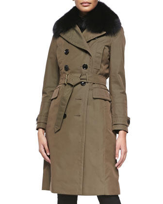 Double-Breasted Trenchcoat W/ Removable Rabbit Fur Liner