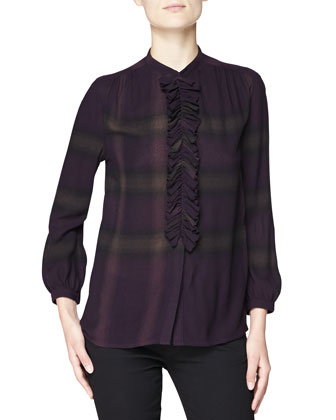 Check Blouse with Ruched Ruffle Bib, Black Currant