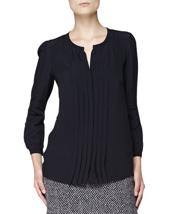 Pintucked Viscose Blouse, Black