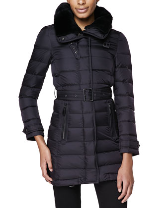 Leather-Trim Puffer Coat W/ Shearling Fur Collar, Black