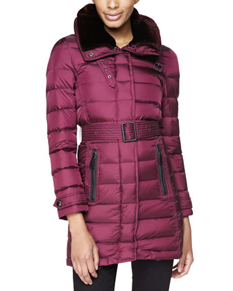 Leather-Trim Puffer Coat W/ Shearling Fur Collar, Deep Claret