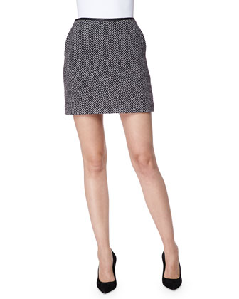 Herringbone Wool Skirt with Leather Waist