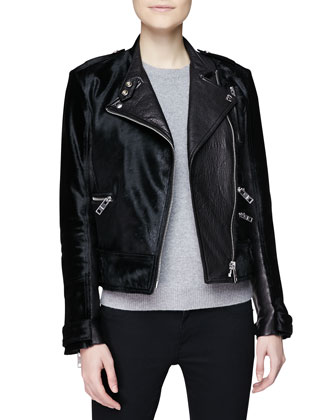 Leather & Calf Hair Moto Jacket