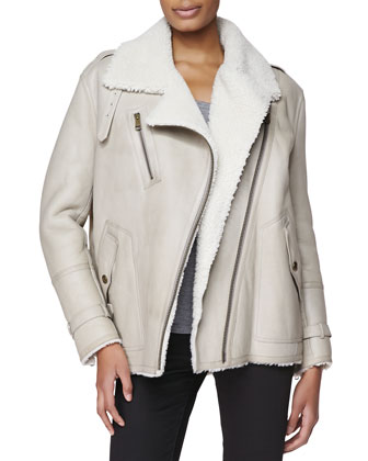 Oversized Shearling Moto Jacket, Natural White