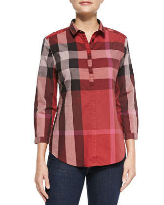 Ruched Placket Check Button-Up Top, Berry Red