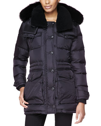 Sporty Heavy Puffer Coat W/ Shearling Fur Collar
