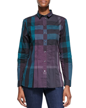 Long-Sleeve Pintucked Check Shirt