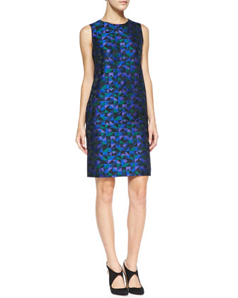 Sleeveless Harlequin Jacquard Dress