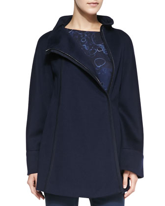 Wool Zip Caban Coat, Sparkle Moon Printed Blouse & Side Zip Techno ...