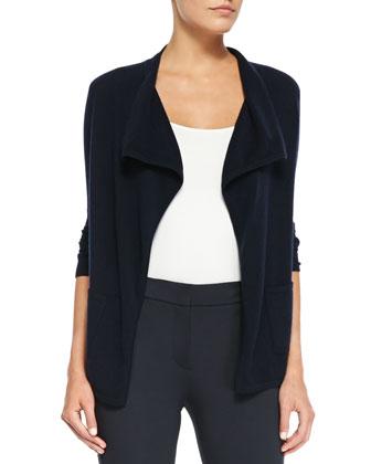 Drape-Front Cashmere Cardigan & Cuffed Jersey Pants