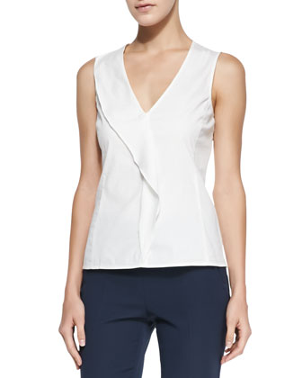 Sleeveless Poplin Drape Top