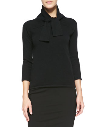 Cashmere Tie-Neck Sweater and Jersey Slit Pencil Skirt