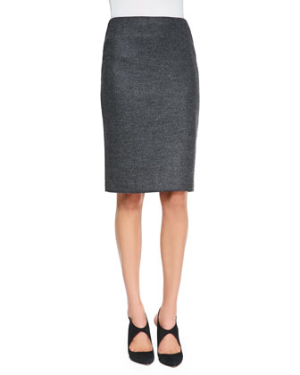 Herringbone Asymmetric Jacket and Pencil Skirt