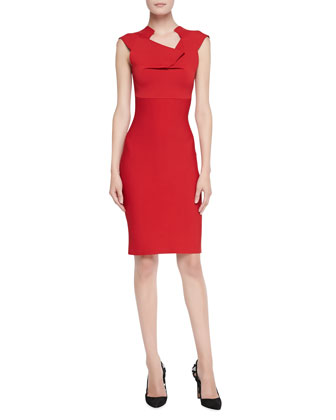 Velia Folded Sheath Dress, Red