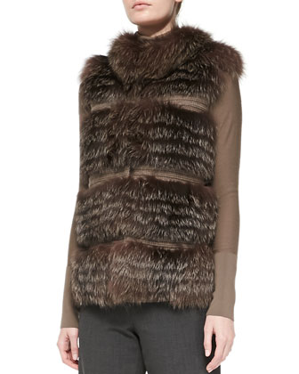 Tiered Fox Fur and Knit Vest, Taupe