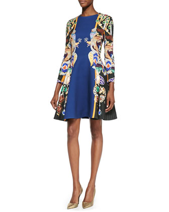 Totem Printed Fit-and-Flare Dress